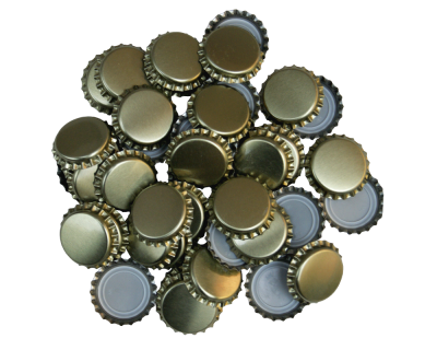 50 Crown Bottle Caps Caps - Gold