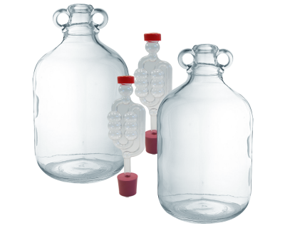 2 x Glass Demijohns With Airlock Bubblers & Bungs