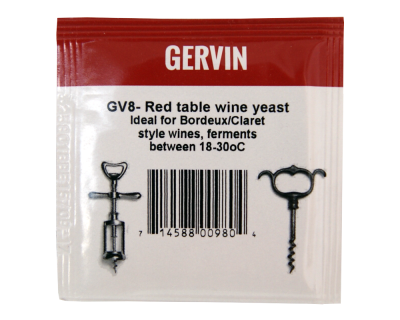 Gervin Yeast - GV8 Red Table Wine Yeast