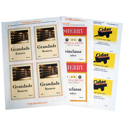 A4 Dry Gummed Label Paper - Pack Of 8 Sheets For Wine And Beer Bottle Labels