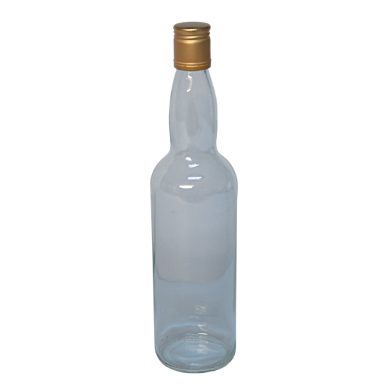 Spirit Bottles - 700ml Clear Glass With Pre Fitted Metal Screw Cap - Pack Of 15