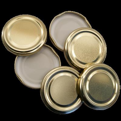 48mm Twist On Jam Jar Lids - Gold - Pack Of 6