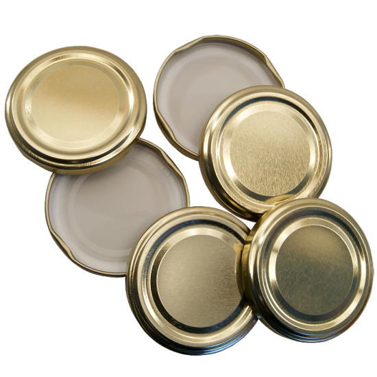 48mm Twist On Jam Jar Lids - Gold - Pack Of 6