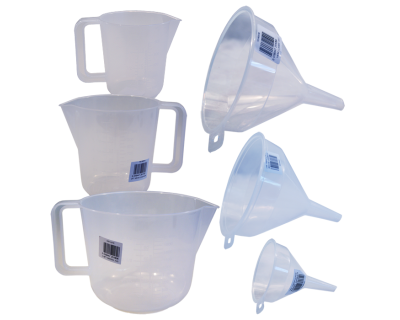 6 Piece Plastic Jug and Funnel Set