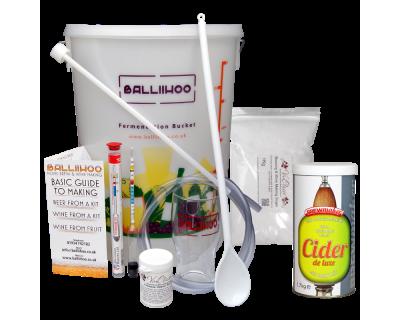 Balliihoo Basic Homebrew Starter Kit With 40 Pint Cider DeLuxe & 1Kg Brewing Sugar