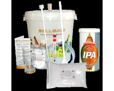 Balliihoo Basic Homebrew Starter Kit With 40 Pint IPA & 1Kg Brewing Sugar