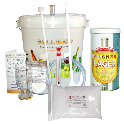 Balliihoo Basic Homebrew Starter Kit With 40 Pint Pilsner Lager & 1Kg Brewing Sugar