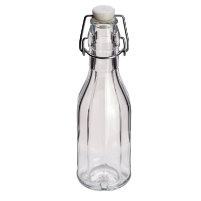 250ml Decagon (10 Sided) Glass Swing Top Bottle