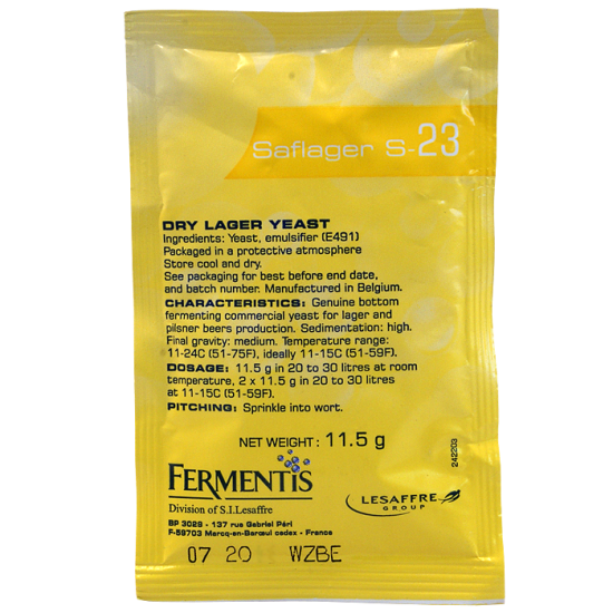 Fermentis Brewing Yeast - Saflager S-23 - 11.5 Gram Sachet Of Dry Lager Yeast