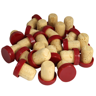 Plastic Top Flanged Wine Stoppers / Corks - Red - Pack Of 24