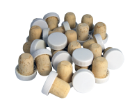 Plastic Top Flanged Wine Stoppers - White Show Corks- Pack Of 24