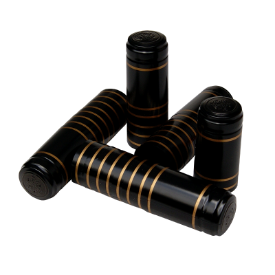 Shrink Capsules Black With Gold Bands - Pack Of 30