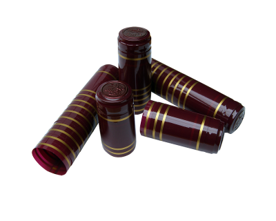 Shrink Capsules Red With Gold Bands - Pack of 30