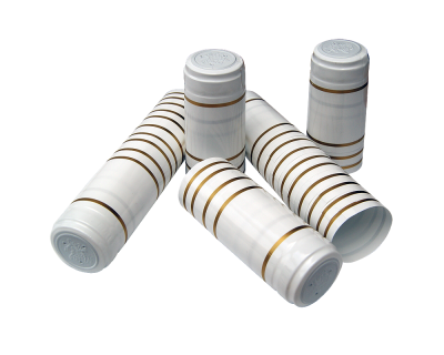 Shrink Capsules White With Gold Bands - Pack Of 30