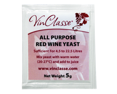 VinClasse All Purpose Red Wine Yeast - 5 Gram Sachet