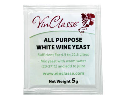 VinClasse All Purpose White Wine Yeast - 5 Gram Sachet
