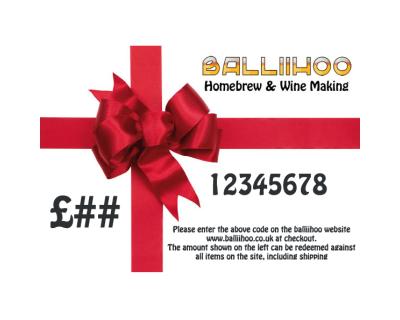 Balliihoo Home Brew And Wine Making Gift Voucher For £10